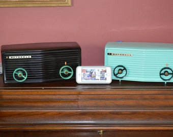 Bluetooth Stereo 1950's Motorola Aqua Blue and Bakelite Brown AM Tube Radio Stream your Music and Apps