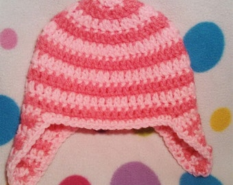 Ready to Ship Crochet Handmade Toddler Newborn Baby Ear Flap Hat Pink