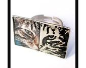 Cat half & half ring,handmade sterling silver animal metalwork