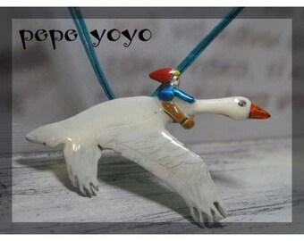 Nils holgersson,handmade metalwork,vintage fairytale pendant