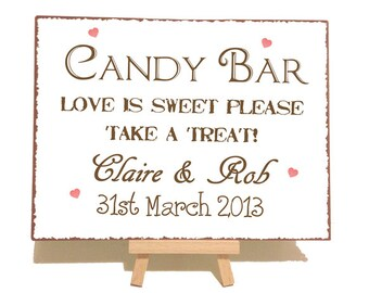 Personalised Vintage Style Candy Bar Cart Sweet Table Wedding Sign Plaque With Wooden Easel