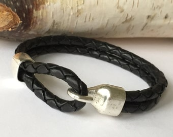 Black Double Strand Braided Leather Bracelet with Chunky Hook Clasp, Leather Bangle, Silver Clasp and Black Leather, Men's Leather Bracelet