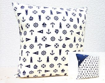"Handmade 16""x16"" Cotton Cushion Pillow Covers in Blue/White Nautical Lighthouses/Anchors/Sailing Boats Design Print"
