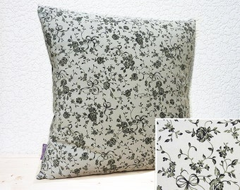 "Handmade 16""x16"" Jane Austen Style Ink Black/Grey Pewter Bouquets & Bows Cotton Cushion Pillow Cover"