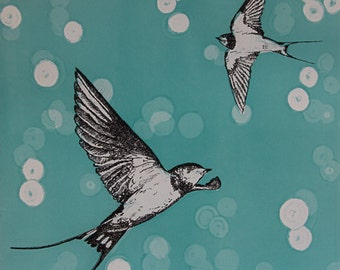 Swallow Swoop, mounted digital print from an original drypoint with monoprint.