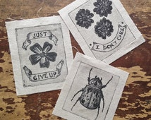 nature patch pack! 3 small sew on patches - beetle and flowers