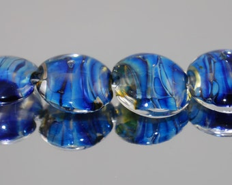 Handmade Lampwork Glass beads set of 6 Lentil beads Blue Silver Glass SRA