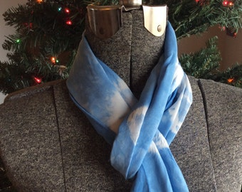 Hand dyed, exquisite Bamboo Rayon scarf in shades of Blue and White