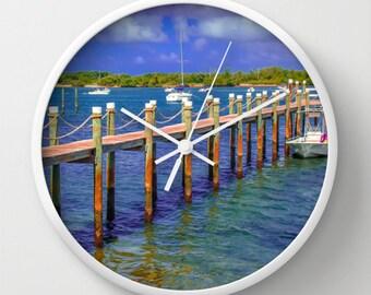 Boat Dock Nautical Decorative Wall Clock, Nautical Wall Clock Decor, Houseware, Beach Decor, Seashore Decor, Boat wall clock Boat Ramp Clock