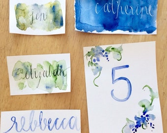 Watercolor Calligraphy Place Cards or Table Numbers