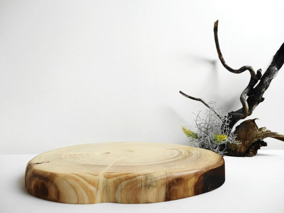 13 5 wood slab cake stand rustic weddinglarge by for Large tree trunk slices