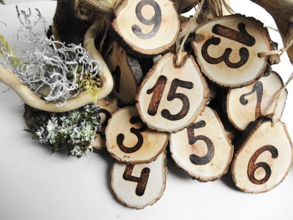 Table Numbers, Wood Table Numbers, Tree Slice Table Numbers, Rustic Decoration, Wedding Decoration, Rustic Table numbers, Set of1-15