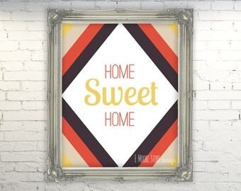 50% OFF Home Sweet Home-Red and Mustard- Instant Download Digital Art Print- Home Decor