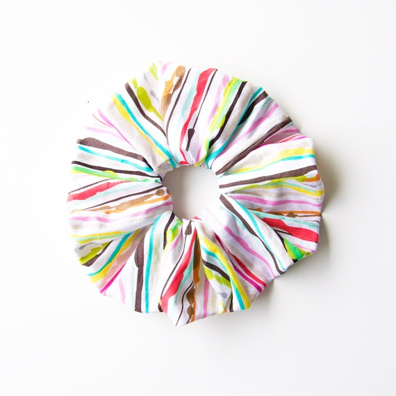 SORBET STRIPES. Large Scrunchy or Scrunchie. Scrunchy. Women Hair Accessories, Retro Accessory.