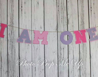 First birthday banner girl cake smash photo prop