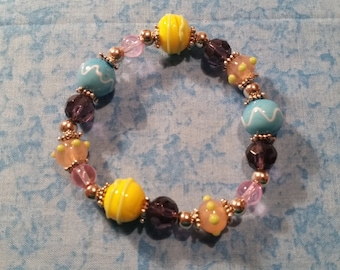 Pastel Lamp Work Glass Stretch Bracelet
