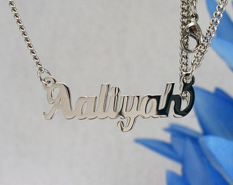 Aaliyah name necklaces. stainless steel. next day ship. never tarnishes. shiny silver color