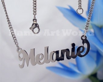 Melanie  name necklaces. stainless steel. next day ship. never tarnishes. shiny silver color