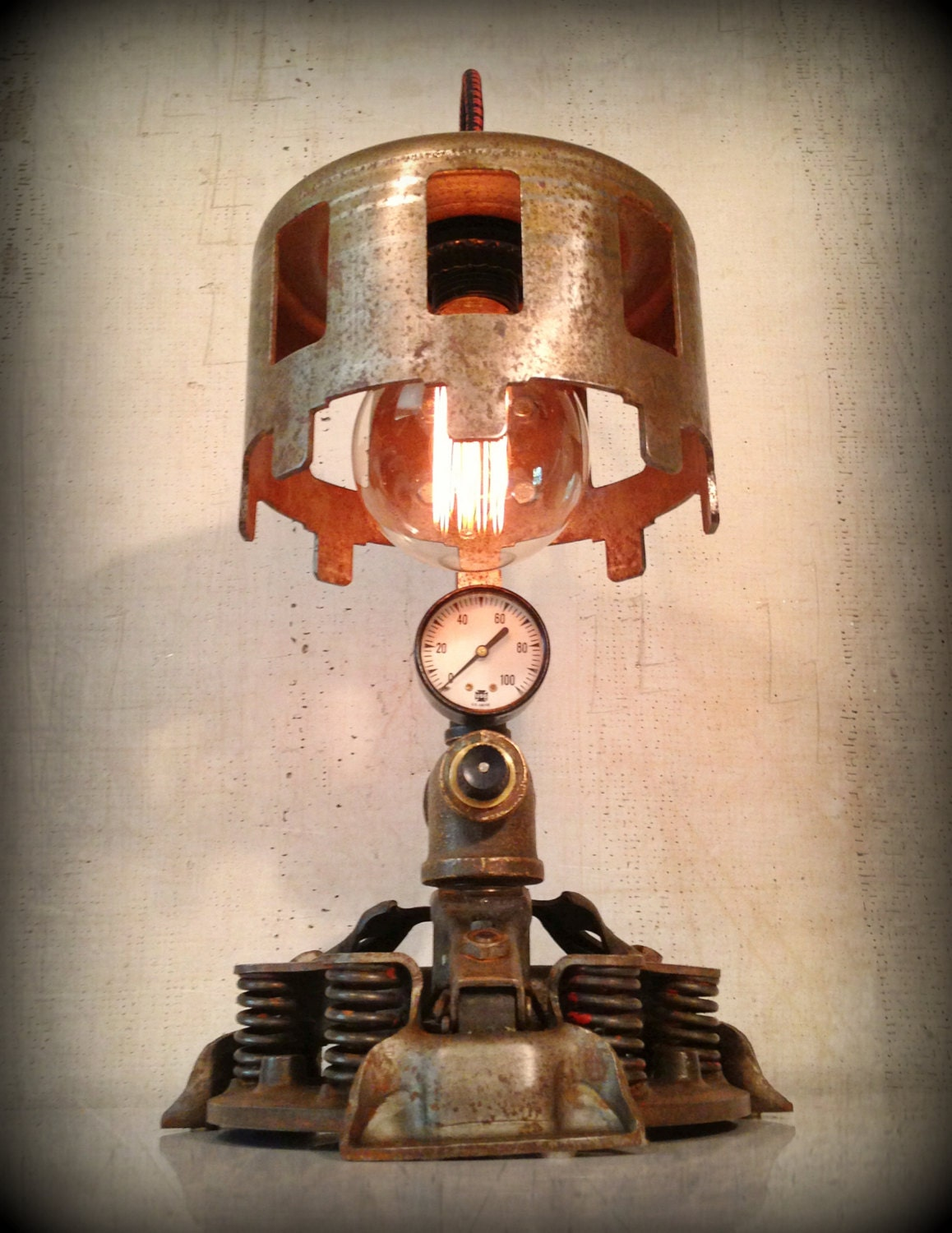 Found Object Light Sculpture Steampunk Metal Lamp D 233 J 224 Vu