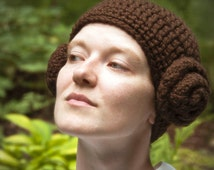 Princess Leia Hat, Adult, Costume, Halloween, Crochet