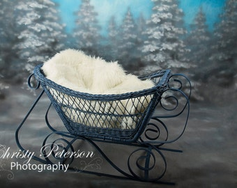 Christmas Snow Sled or Winter Sleigh Digital Background for babies and children
