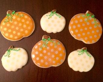 Polka dot Glitter Pumpkin Custom Sugar Cookie! Priced per dozen!