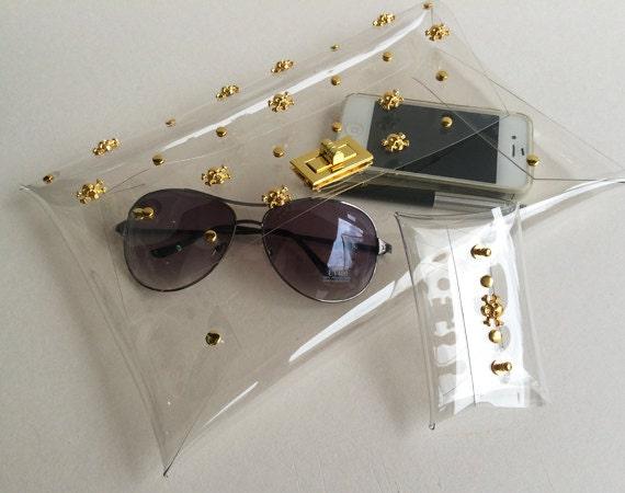 Gold Skull Clear Clutch, Skull Clutch Bag, Skull Bag, Clear Clutch, Purse, Clutch, Clear Bag with mini clutch