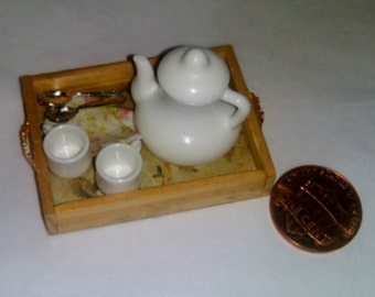 Dollhouse Miniature 1:12 Scale Coffee Service on Tray