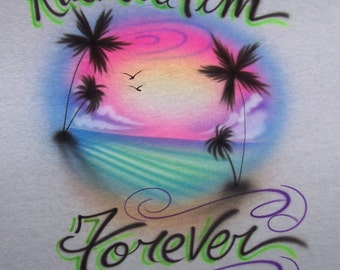 Airbrush Beach Scene Airbrushed t shirt Personalized... youth and adult sizes