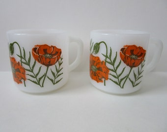 Federal Glass mugs / orange poppies