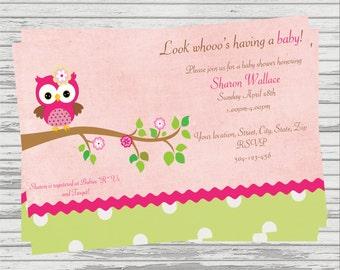 Owl Baby Shower DIGITAL Invitation.
