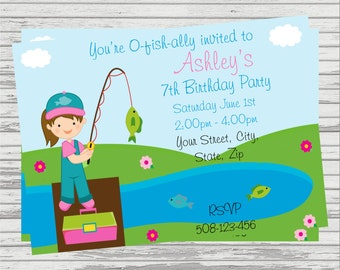 Fishing DIGITAL Birthday Invitation. Girl and Boy available.