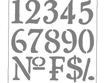 Universal Numbers Stencil 6 inch tall letters 256-6