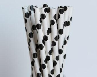 Black Polka Dot Paper Straws-Black and White Wedding Paper Straw-Mason Jar Paper Straws-Birthday Party Straw-Black and White Polka Dots