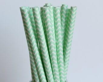 Mint Green Chevron Paper Straws-Mint Green Straws-Chevron Straws-Mason Jar Straws-Zigzag Straws-Party Straws-Wedding Straws-Cake Pop Sticks