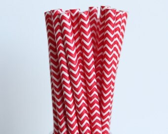 Red Chevron Paper Straws-Chevron Straws-Red Straws-Party Straws-Wedding Straws-Mason Jar Straws-Shower Straws-Cake Pop Sticks-Paper Straws