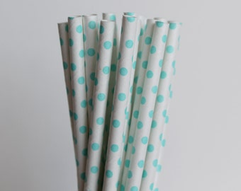 Light Blue Polka Dot Paper Straws-Light Blue Straws-Polka Dot Straws-Wedding Straws-Baby Blue Straws-Mason Jar Straws-Party Straws