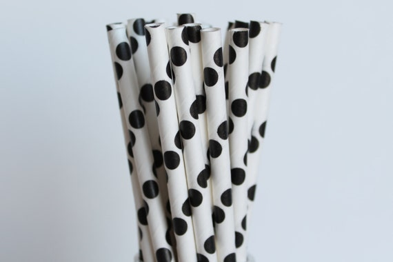 Black Polka Dot Paper Straws Black And White Wedding Paper Straw