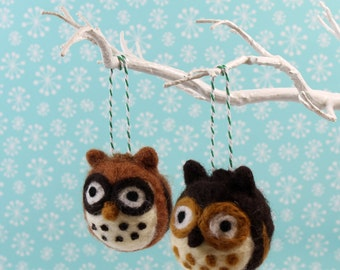 Owl Hanging Decoration Handmade Needle Felted ornament
