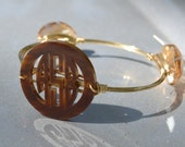 Monogram Bangle Wire Wrapped Bracelet Bauble Tortoise Shell Pearl and More Acrylic colors