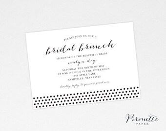 bridal shower invitation - polka dot theme - printable