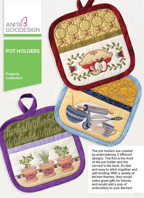 Machine embroidery design pot holder designs on cd rom