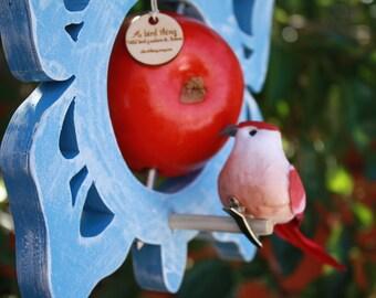 Blue Butterfly bird feeder - Garden decor - Fruit feeder - Natural bird feeder - Bird feeder - Wooden bird feeder - Handmade bird feeder
