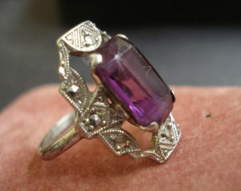 Spectacular  Vintage Solid Sterling Silver Ring Size 6  Lovely Deep Amethyst Color Stone