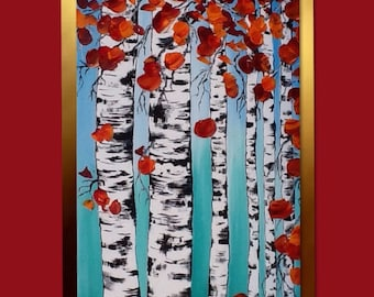 Birch Trees Painting Aspen Forest painting, palette knife, Aspen and Birch trees, art by Susie Tiborcz