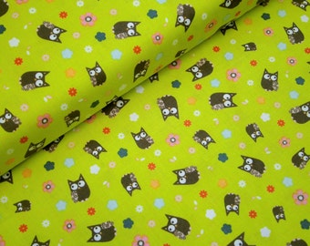 "0,5 m Printed fabric ""Fawn Meadow""  114 cm w.  Owl white green"
