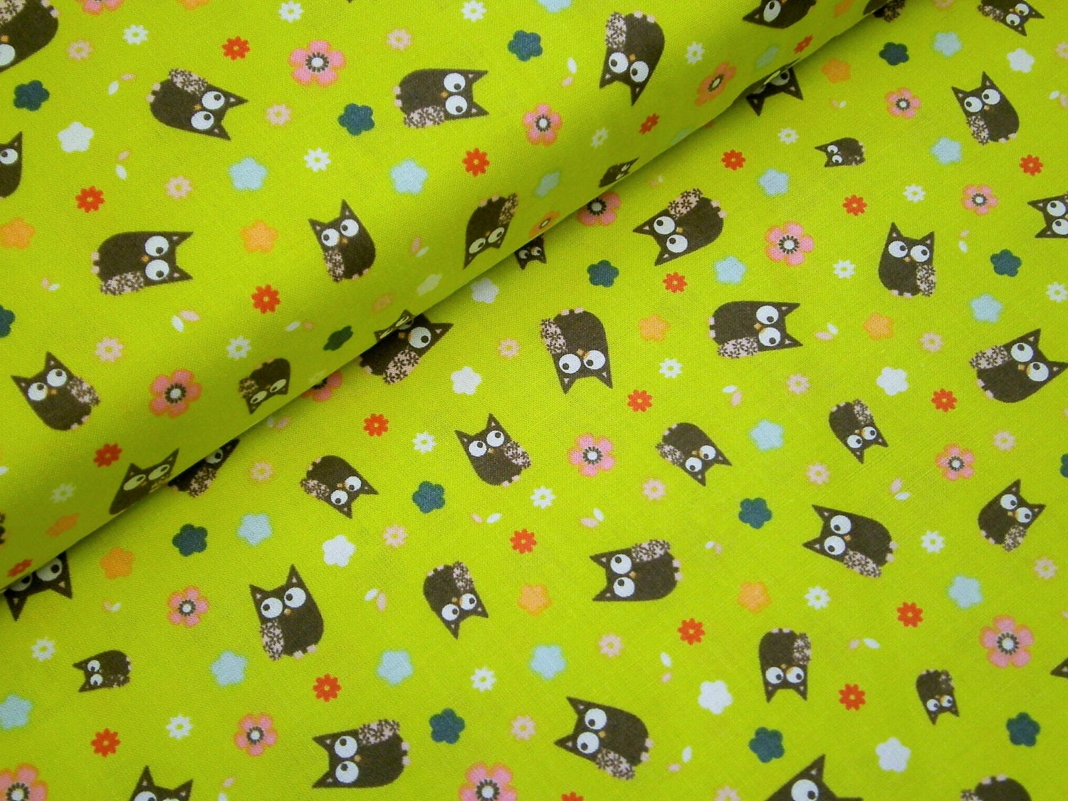 0 5 M Printed Fabric Quot Fawn Meadow Quot 114 Cm W Owl White