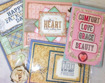 card set, mother's day cards, father's day cards, (4 cards total)