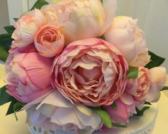 artificial pinks peonies vintage style wedding flowers cake topper or wedding decor,shabby chic bouquets button holes and much more....