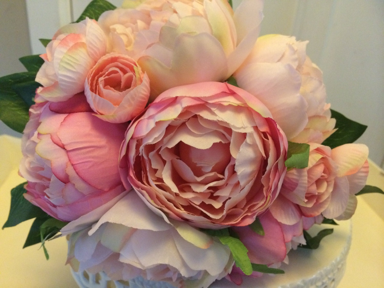 artificial pinks peonies vintage style wedding flowers cake